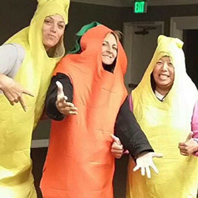 Teachers dress up as fruits and veggies to promote healthy eating!